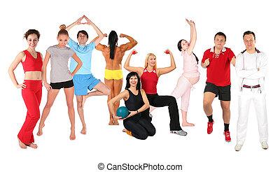 sporten, mensen, groep, collage