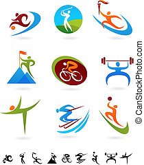 sporten, pictogram, verzameling, -, 1
