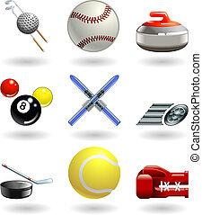 sporten, reeks, set, glanzend, pictogram
