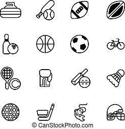 sporten, set, iconen