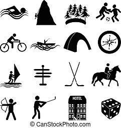 sporten, set, vrije tijd, iconen