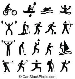 sporten, silhouettes