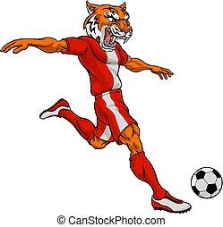 sporten, tiger, de voetbal van het voetbal, dier, mascotte, speler