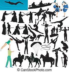 sporten, toneelstuk, verzameling, mensen