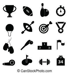 sporten, verwant, pictogram, set
