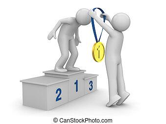 sporten, verzameling, -, 1st plaats, winnaar