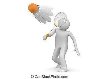 sporten, verzameling, -, badminton, speler
