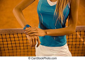 sporten vrouw, gebruik, fitness, tracker