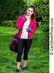 sporten vrouw, in het park