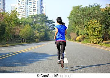 sporten vrouw, rennende , op, stad straat