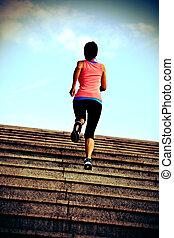 sporten vrouw, rennende