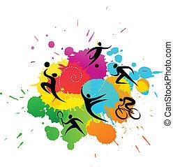 sportende, achtergrond, -, kleurrijke, vector, illustratie