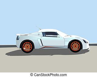 sportende, auto, illustratie