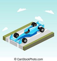 sportende, auto, op, straat, isometric, vector