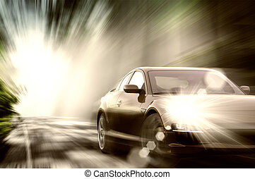 sportende, auto, op, straat