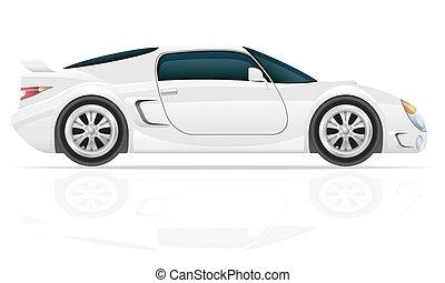 sportende, auto, vector, illustratie