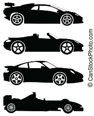 sportende, auto's, vector, set