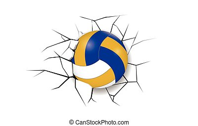 sportende, barst, volleybal, verwoesting