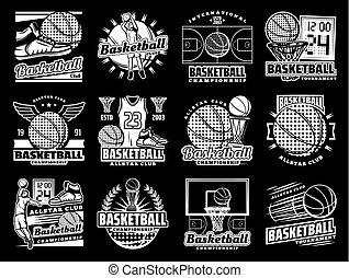 sportende, basketbal, toernooi, team, kentekens
