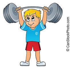 sportende, en, gym, thema, 7