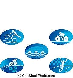 sportende, fiets, iconen