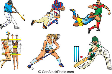 sportende, figuren, buiten, -, team