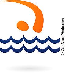 sportende, figuur, zwemmen, -, vector