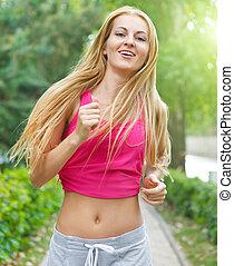 sportende, fitness, rennende , jonge vrouw , jogging, gedurende