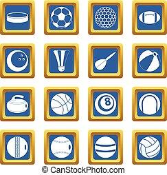 sportende, gelul, iconen, set, blauwe