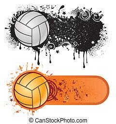 sportende, grunge, volleybal, inkt