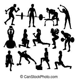 sportende, gym, activiteit, silhouettes