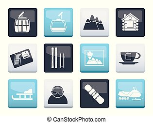 sportende, iconen, op, kleuren achtergrond, hardloop wedstrijd, ski