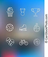 sportende, iconen, set, in, schets, stijl