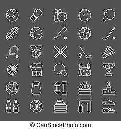sportende, iconen, set