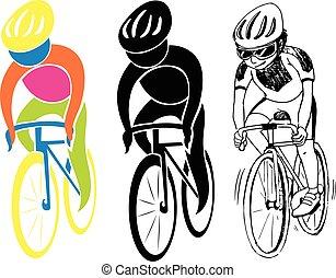 sportende, iconen, voor, cycling