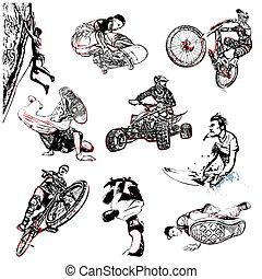 sportende, illustratie, extreem