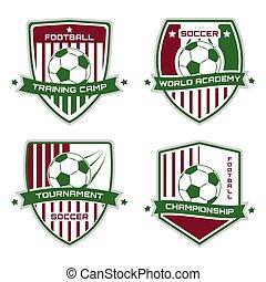 sportende, illustration., logotype., voetbal, emblem., ...
