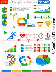 sportende, infographics., statistiek, en, analytics, voor, zakelijk, finance.