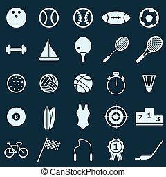 sportende, kleur, iconen, op, blauwe achtergrond