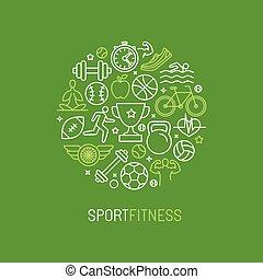 sportende, lineair, logo, vector, fitness