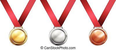 sportende, linten, medailles, rood