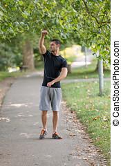 sportende, man, stretching, op, de, park, -, fitness, concepten