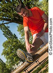 sportende, man, stretching, op, de, park