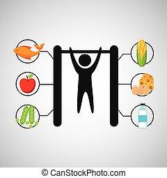 sportende, man, turnoefening, voeding, gezondheid