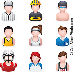 sportende, -, mensen, iconen