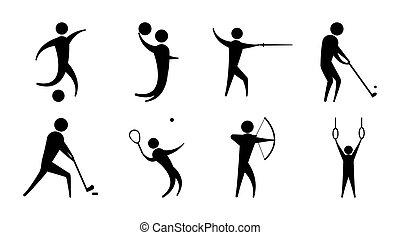 sportende, mensen, silhouette, iconen, anders, set, activiteit