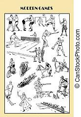 sportende, ouderwetse , moderne, spelen, illustratie