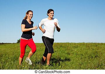 sportende, paar, jogging, buitenshuis, in, zomer