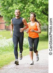 sportende, paar, rennende