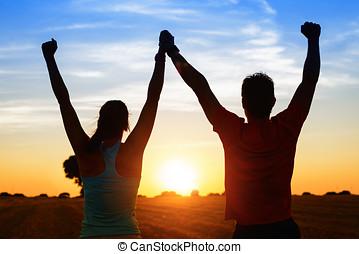 sportende, paar, van, atleten, succes